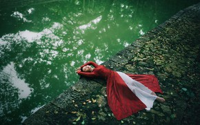 Picture girl, pose, lies, Asian, red dress, pond, closed eyes