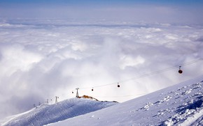 Picture clouds, snow, mountains, The Himalayas, cable car