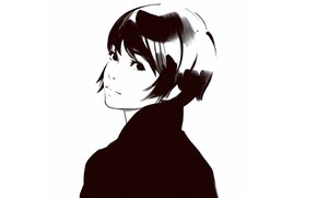 Picture haircut, graphics, black and white, portrait of a girl, sideways, Ilya Kuvshinov
