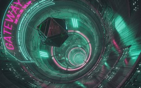 Picture Girl, Music, Background, The tunnel, Neon, Cyber, Cyberpunk, Synth, Gateway, Retrowave, Synthwave, New Retro Wave, …