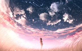 Picture the sky, sunset, girl, Crescent
