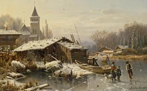 Picture 1865, German landscape painter, Winter day, Winter day, German landscape painter, oil on canvas, Wintertag, …