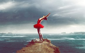 Picture sea, the sky, girl, clouds, pose, overcast, rocks, dance, figure, dress, horizon, bad weather, legs, …