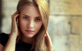 Picture look, face, pose, background, model, portrait, hands, makeup, hairstyle, blonde, beauty, bokeh, Jade, Pascal Magat