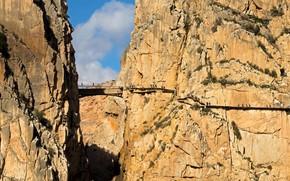 Picture mountains, bridge, rocks, gorge, Spain, Malaga, El Chorro, Royal trail