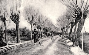 Picture Vincent van Gogh, black and white, and Man with Broom, Road with, Pollard Willows, a …