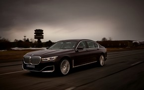 Picture road, BMW, sedan, hybrid, four-door, G12, 7, 7-series, 2019, longer wheel base, 745Le