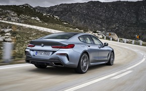 Picture coupe, BMW, Gran Coupe, mountain road, 8-Series, 2019, the four-door coupe, Eight, G16, steel gray