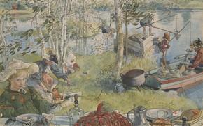 Wallpaper Swedish painter, Carl Olof Larsson, Swedish artist, Crayfishing, Carl Larsson, Crayfishing, Carl Larsson, Carl Olof ...