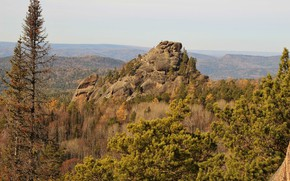 Picture autumn, stone, Posts, Krasnoyarsk