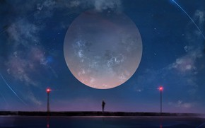 Picture girl, night, the moon