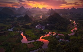 Picture the sky, clouds, mountains, river, China, field, home, China, river, sky, mountains, clouds, fields, houses, …