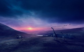 Picture road, field, machine, animals, the sky, the sun, clouds, landscape, sunset, mountains, birds, clouds, nature, …