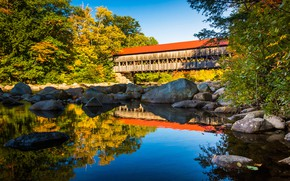 Picture autumn, the sky, water, the sun, trees, bridge, pond, Park, reflection, stones, USA, New Hampshire, …