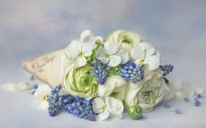 Picture flowers, background, bouquet, blue, art, lies, white, painting, Pansy, Muscari, Ranunculus
