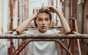 Picture portrait, cigarette, sponge, retouching, Emma, Pavel Sokolov