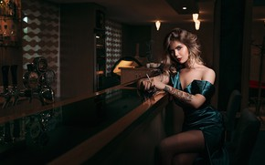 Picture look, girl, pose, bar, dress, tattoo, Novitsky Ilya