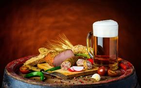Picture beer, pepper, drink, tomatoes, sausage, beer, ham, sausage, ham