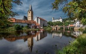 Picture river, castle, Czech Republic, Rožmberk Castle