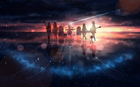 Picture sunset, reflection, music, girls, the milky way, K-On!