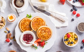 Picture berries, coffee, Breakfast, juice, pancakes, Iryna Melnyk