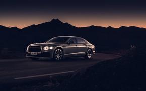 Picture sunset, lights, Bentley, the evening, twilight, Flying Spur, 2020, Blackline
