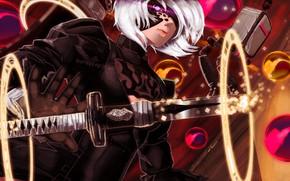 Picture look, girl, sword, cyborg, Nier Automata
