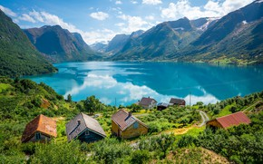 Picture lake, Norway, houses, Sogn and Fjordane