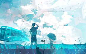 Picture cat, the sky, water, girl, train, kit, guy, torii