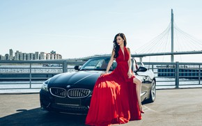 Picture machine, auto, girl, bridge, pose, style, river, BMW, red dress, promenade, Mila, Dmitry Tobolevich