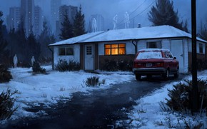 Picture winter, snow, house, creatures