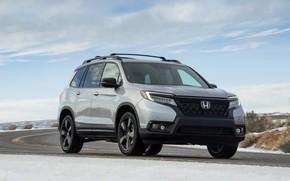 Picture road, asphalt, snow, Honda, 2019, Passport