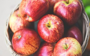 Picture apples, food, harvest, red, fruit, basket, a lot, striped