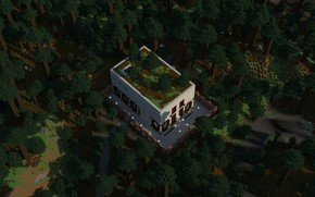 Picture forest, Minecraft, taiga, golden autumn, cube house