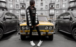 Picture machine, girl, hair, skirt, legs, VAZ 2106, Polina Knyazeva, Oleg Naumov