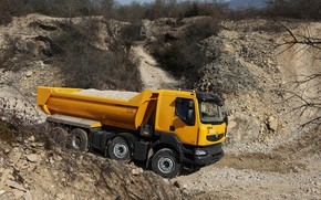 Picture sand, orange, stones, earth, vegetation, truck, Renault, the ravine, body, crushed stone, breed, the ground, …