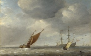 Picture ship, picture, sail, seascape, Willem van de Velde the Younger, Small Dutch ships in the …