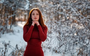 Picture winter, look, pose, smile, Girl, Alexey Gilev