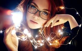 Picture look, face, mood, hands, glasses, garland, Ekaterina Bulavina