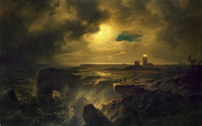 Wallpaper landscape, picture, Helgoland in Moonlight, Christian Morgenstern, Christian Ernst Bernhard Morgenstern