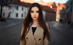 Picture background, street, model, portrait, home, brown hair, beauty, bokeh, Peter Krzyzanowski