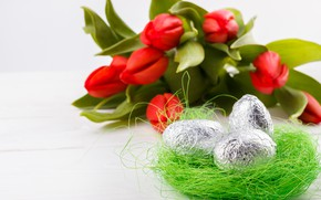Picture flowers, holiday, eggs, spring, Easter, socket, tulips, buds