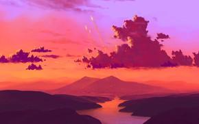 Picture fantasy, river, sky, landscape, nature, sunset, science fiction, clouds, mountain, sci-fi, artist, digital art, artwork, …