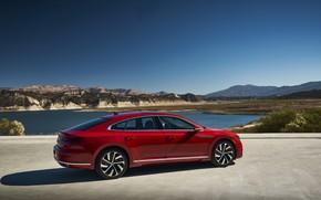 Picture red, Volkswagen, liftback, Arteon, 2019, the shore, SEL Premium R-Line