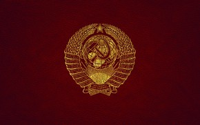 Picture leather, USSR, gold, coat of arms, red, the coat of arms of the USSR