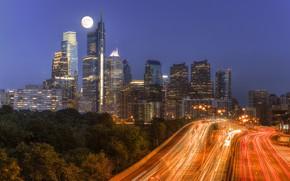 Wallpaper night, lights, Philadelphia, skyline, Pennsylvania, Philadelphia, moonlight traffic