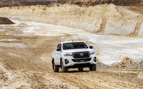 Picture road, white, Toyota, pickup, Hilux, Special Edition, quarry, 2019