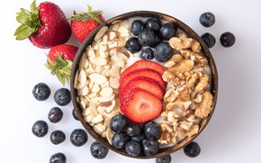 Picture berries, Breakfast, nuts, yogurt, oatmeal