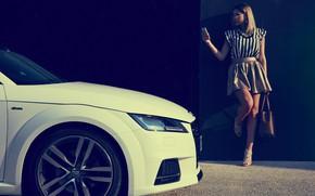 Picture transport, woman, phone, car, Audi TT