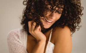 Picture girl, eyes, smile, beautiful, model, beauty, lips, face, hair, pose, makeup, curly hair girl
